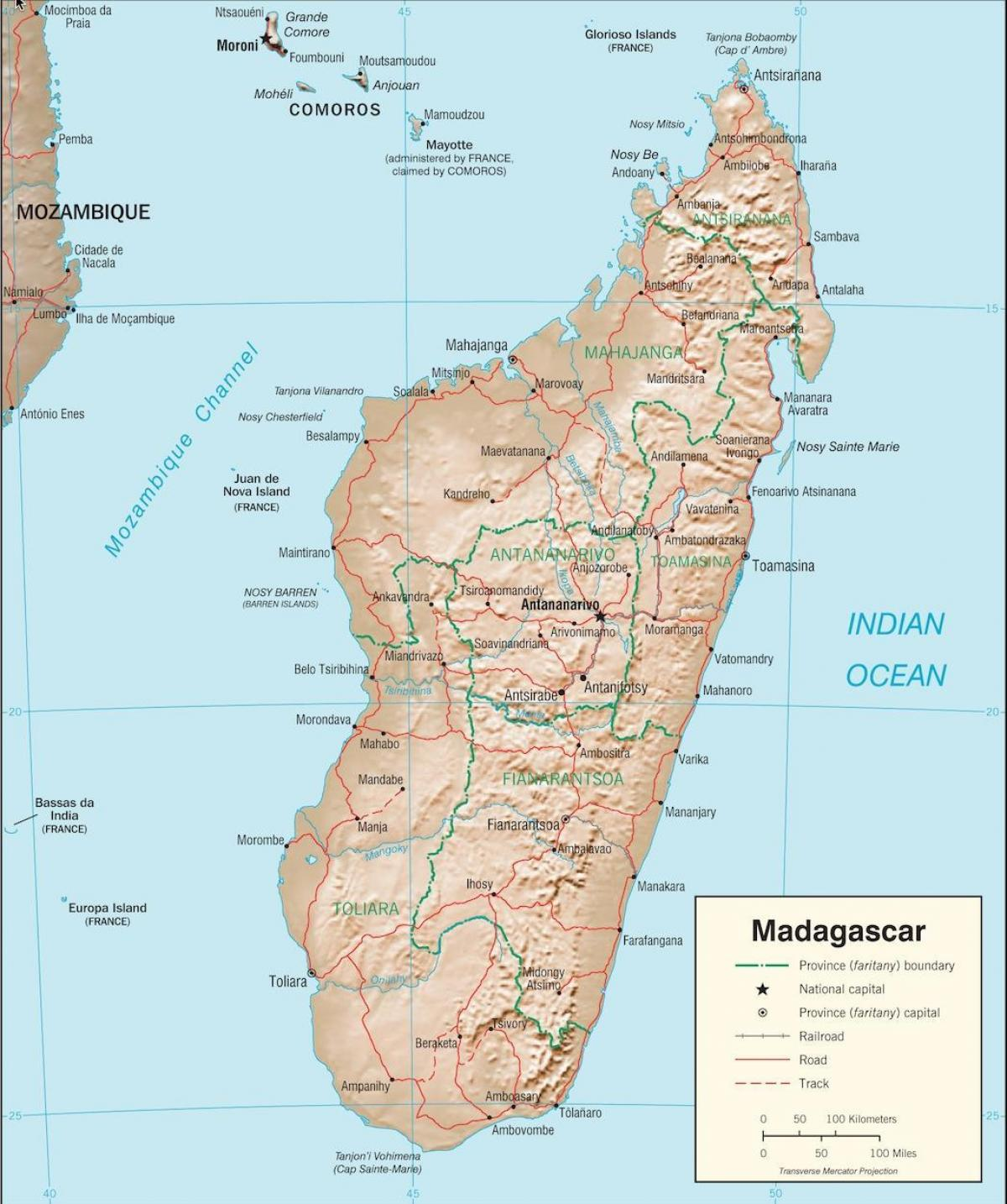 Madagascar mapa do país